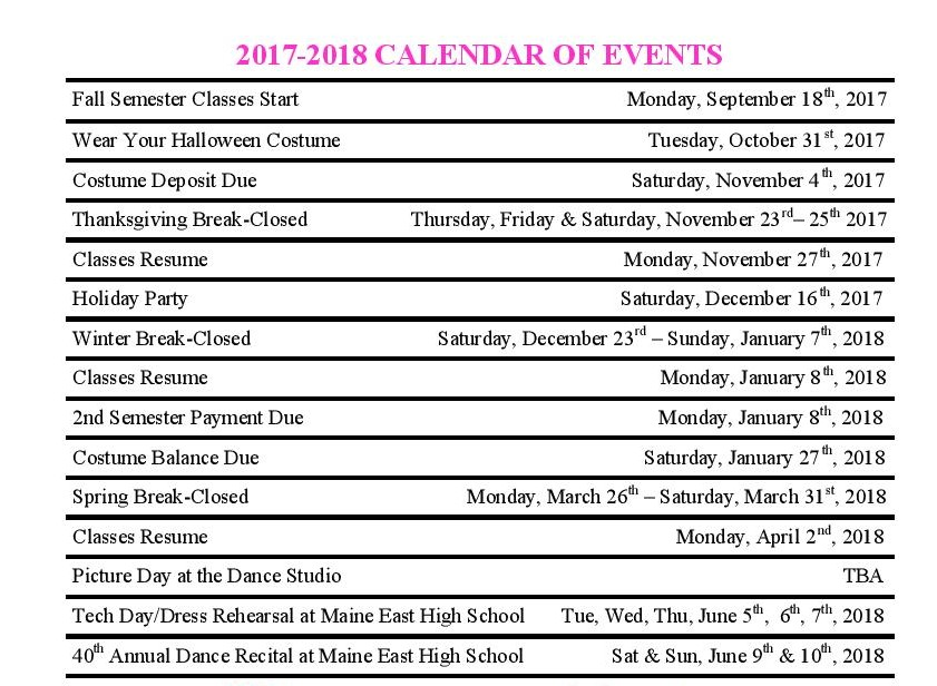 Pic of imporanta dates for calendar